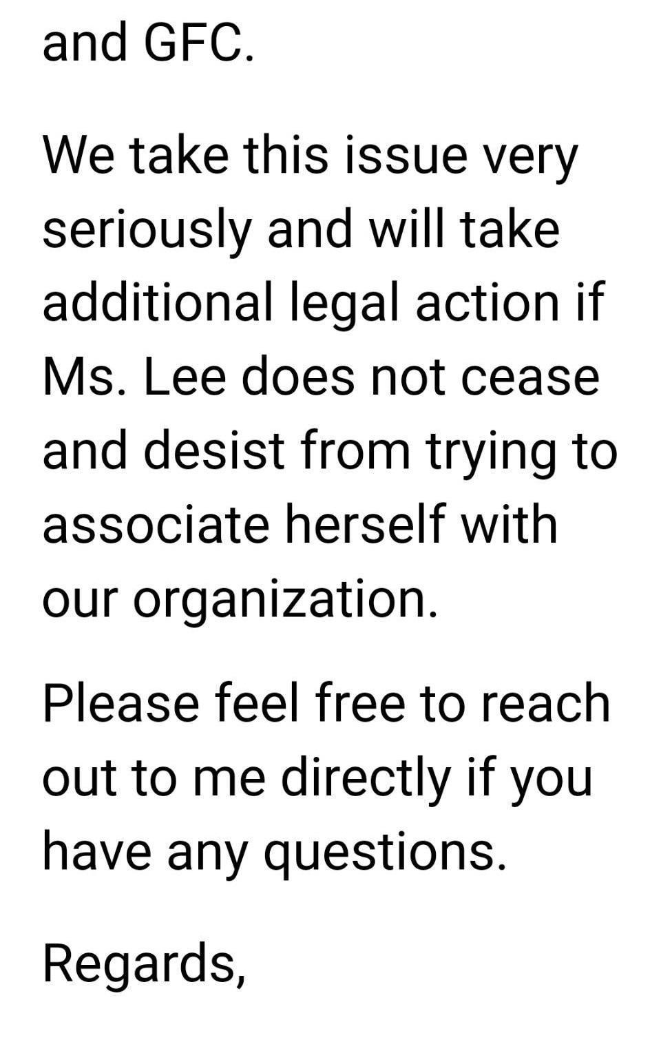 溫哥華時裝週主辦單位發聲明指李敏說謊,並強調不排除採取法律行動。