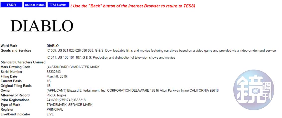 暴雪本月初註冊了「DIABLO」的影視作品商標。(翻攝自美國專利商標局)