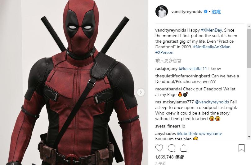 萊恩雷諾斯在IG、推特公開《死侍》片場照片,響應「X戰警日」。(翻攝自萊恩雷諾斯IG)