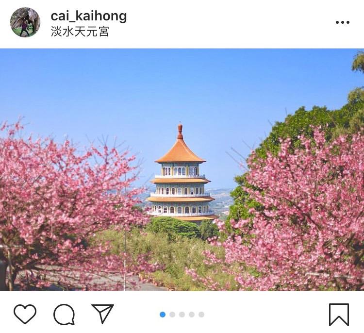 「無極天元宮」後山的櫻花景緻,搭配天元宮傳統的中國式建築,拍起來別有一番風味。圖:翻攝自instagram cai_kaihong/開放權限