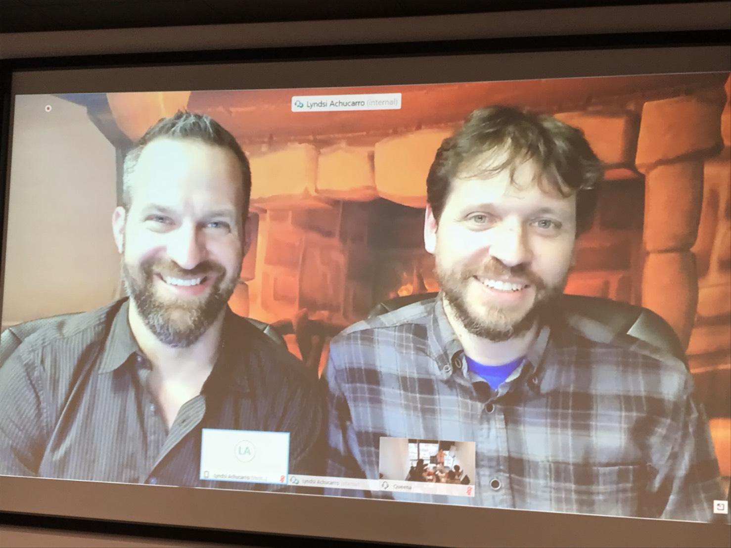 《爐石戰記》創意總監Ben Thompson(左)及遊戲首席設計師Mike Donais(右)接受媒體連線聯訪,談論新資料片的設計秘辛。