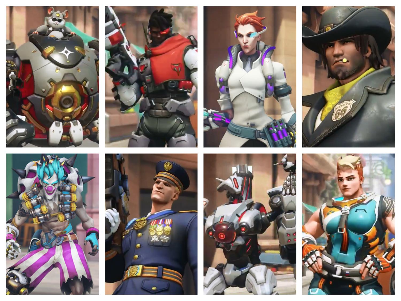 隨著全新任務「失控倒數」到來,官方至今也釋出八款全新英雄造型。圖:翻攝自OVERWATCH Twitter/新頭殼合成圖