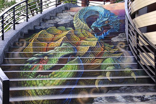 紫南宮3D彩繪階梯為廟宇添增藝術感 (圖片提供/夾腳拖先生)