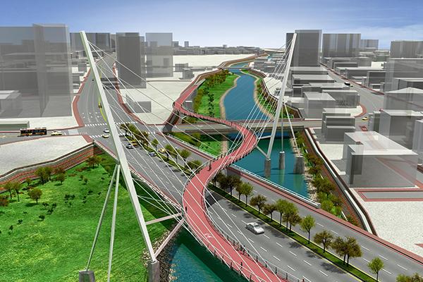 南崁溪上游打造S型的自行車橋梁步道 (圖/桃園市水務局)