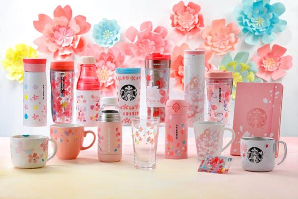 「Looking Forward」的現代感系列,使用多彩的設計風格,大量的櫻花花朵讓人感受活潑時尚(圖/日本星巴克)