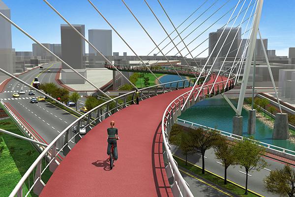 印象大橋為平面S形狀,反映河流彎曲之美 (圖/桃園市水務局)
