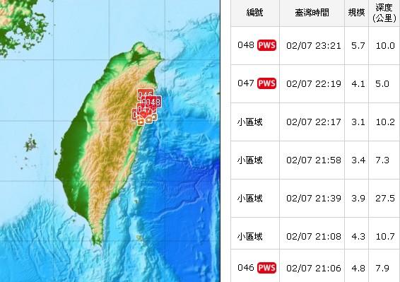 7日晚間23:21的地震為今年第48號有感地震。(圖/中央氣象局)