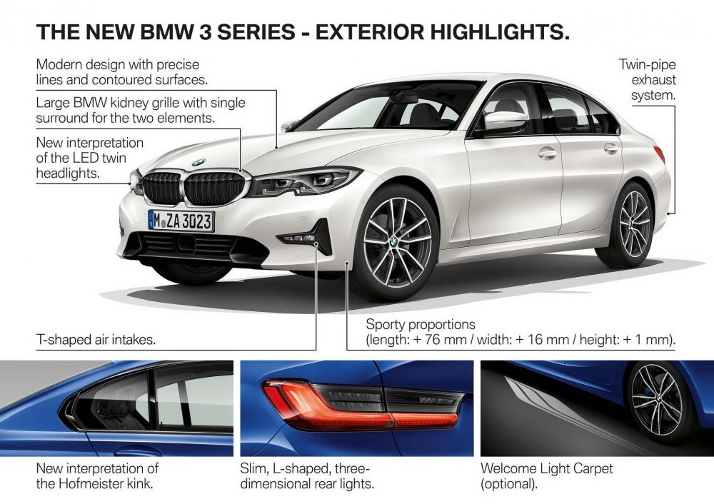 BMW新一代3 Series車型造型充滿動感,保險桿設計霸氣十足,頭尾燈標配LED燈組。(圖片來源:https://insideevs.com/new-bmw-330e-iperformance-next-year/)