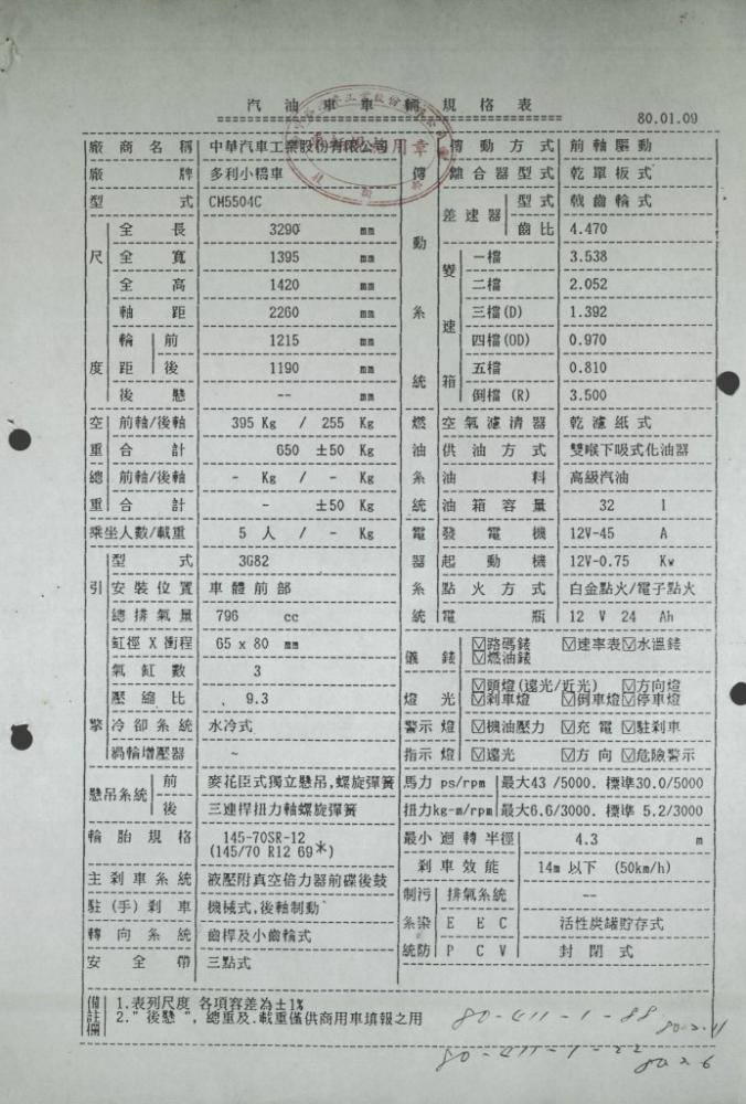 中華汽車送監理單位的車輛規格表