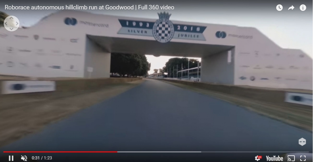 Robocar無人駕駛賽車在車安裝360度相機,全程將在Roborace的Facebook頁面進行360度影片直播