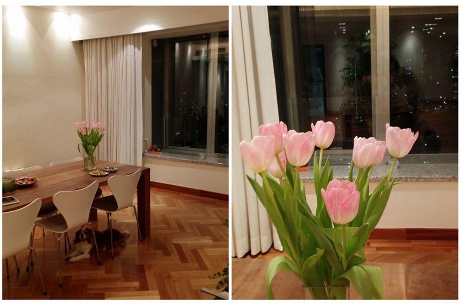 簡約餐廳內有花有窗景,不用外出也能營造小倆口的浪漫晚餐。