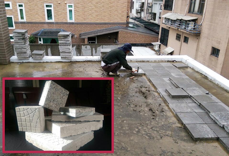 環保瓷花隔熱磚以複合材質加工,讓熱源不易穿透,施工時以1:3水泥沙比例鋪設,每10~12片磚須留伸縮縫,避免日後膨起。圖片提供/山石地磚工業有限公司