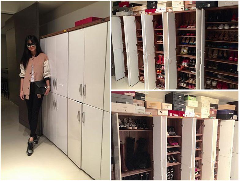 地下室的鞋櫃間,收藏了200多雙老公送的精品鞋。