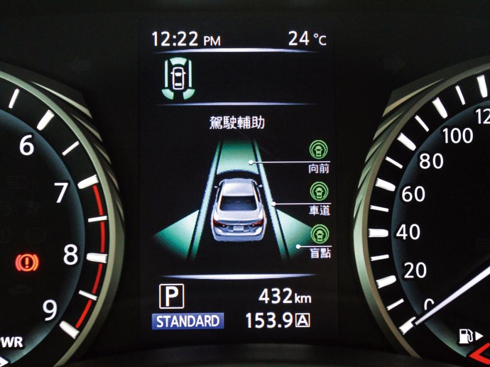 位於轉數與時數表中間的五吋螢幕,顯示即時車輛資訊。