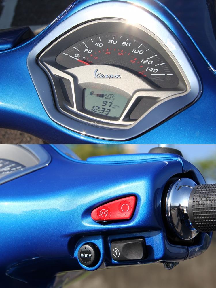 儀表設計改為指針與液晶螢幕並存的型式,下方的液晶螢幕透過把手右方的MODE鍵可切換。