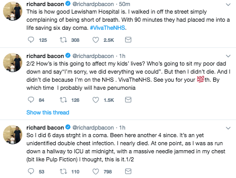 Richard Bacon has tweeted about his coma