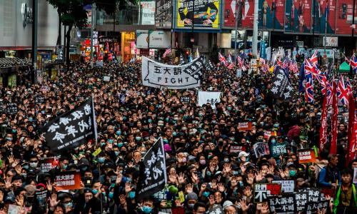 Hundreds arrested at huge New Year's Day rally in Hong Kong