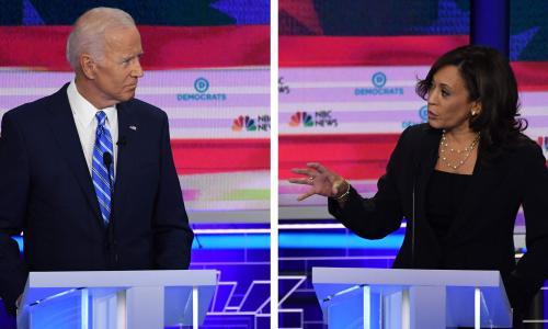 Harris attacks Bidens record on race in Democratic debates key moment