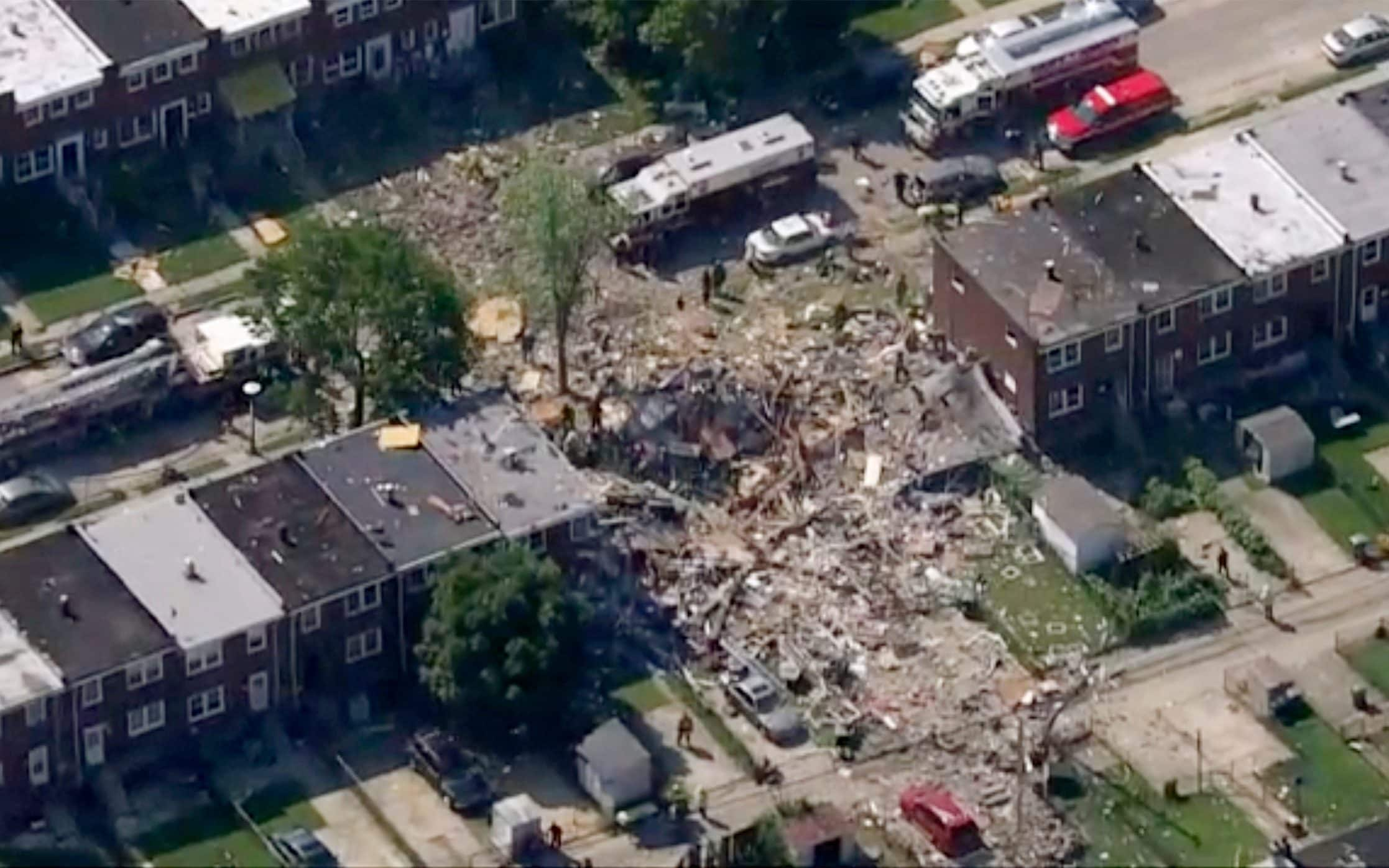 At least five people trapped after major explosion rips through Baltimore neighborhood