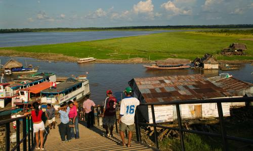 The River Amazon at the port in Iquitos, Peru.