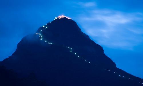 The Illuminated trail up Sri Pada, Sabargamuwa, Sri Lanka.
