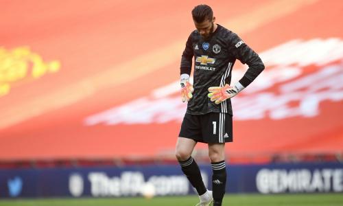 Manchester United's David de Gea in an empty Wembley Stadium