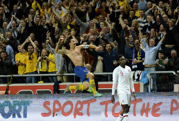 Super Swede Zlatan Ibrahimovic celebrates his demolition of England (Getty Images).