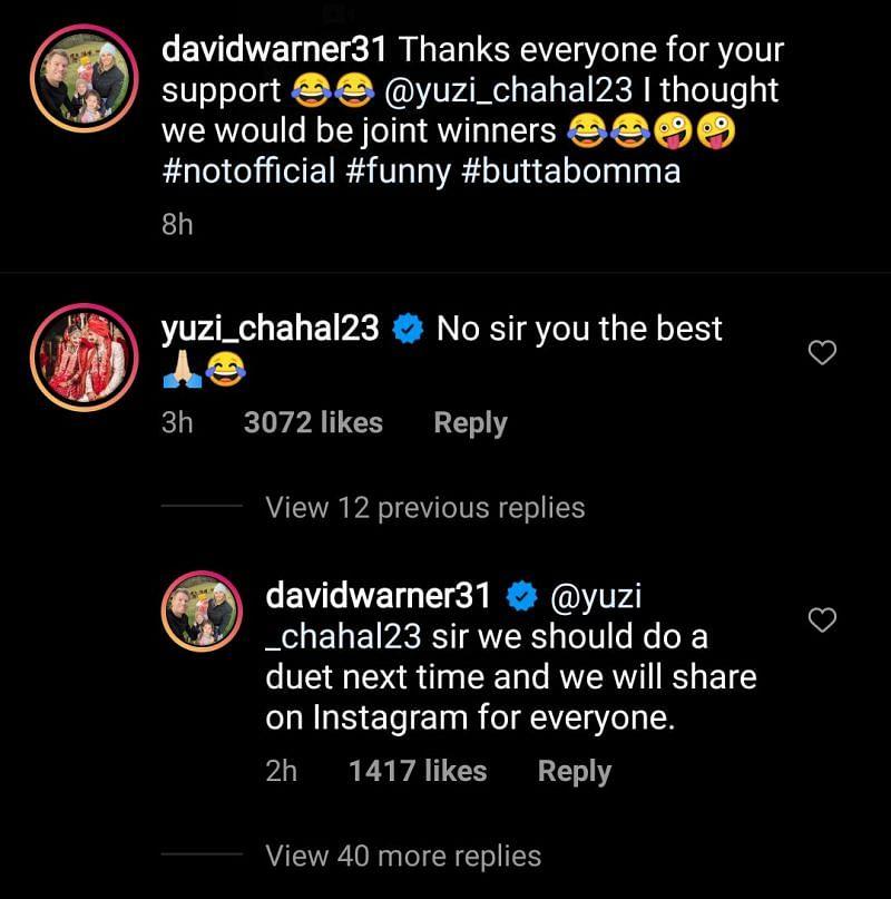 David Warner and Yuzvendra Chahal's conversation on Instagram