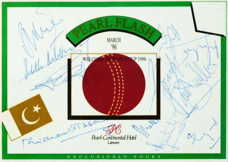 Autographs of ex-Sri Lankan cricketers Michael Tissera, Sidath Wettimuny, Anura Tennekoon, Ranjit Fernando and Duleep Mendis, and World Cup winners Arjuna Ranatunga, Aravinda de Silva, Sanath Jayasuriya, Chaminda Vaas, Muttiah Muralidaran and Hashan Tillakaratne on the specially printed World Cup leaflet from the host hotel in Lahore, Pakistan. (© Ranjan Mellawa)
