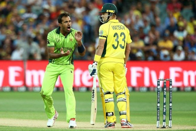 Wahab bowled a fiery spell against Watson at the 2015 CWC
