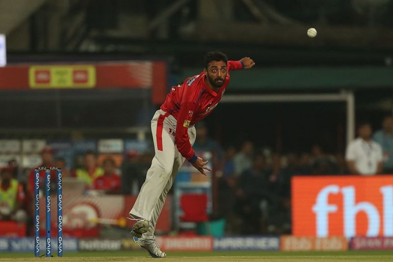 Varun Chakravarthy in action for Kings XI Punjab.