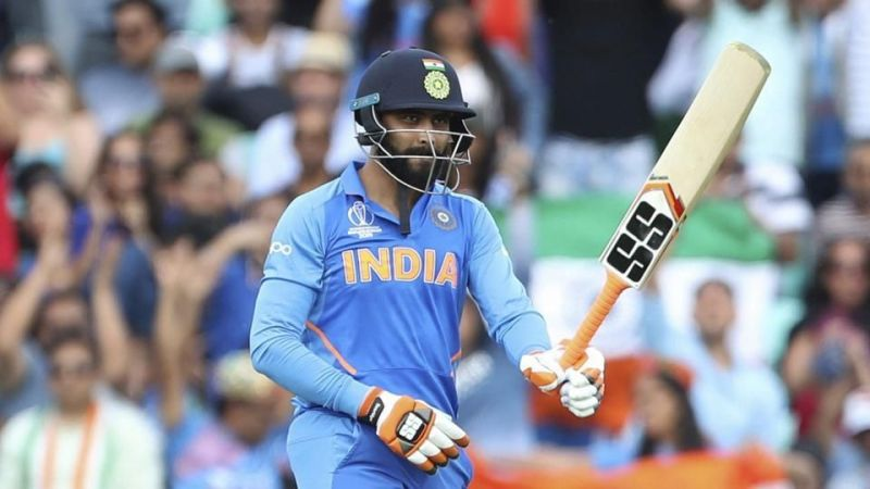 Jadeja directing his bat towards the commentary box after reaching his half-century.