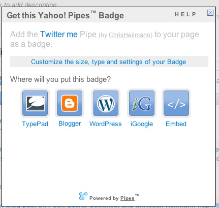 Pipes Badge options