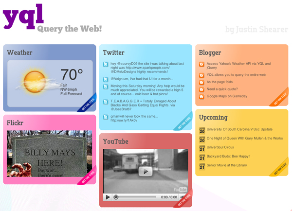 YQL Social Media dashboard