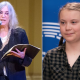 birthday poem poetry climate change tour dates Patti Smith (photo by Ben Kaye) and Greta Thunberg (photo via Flickr/European Parliament)