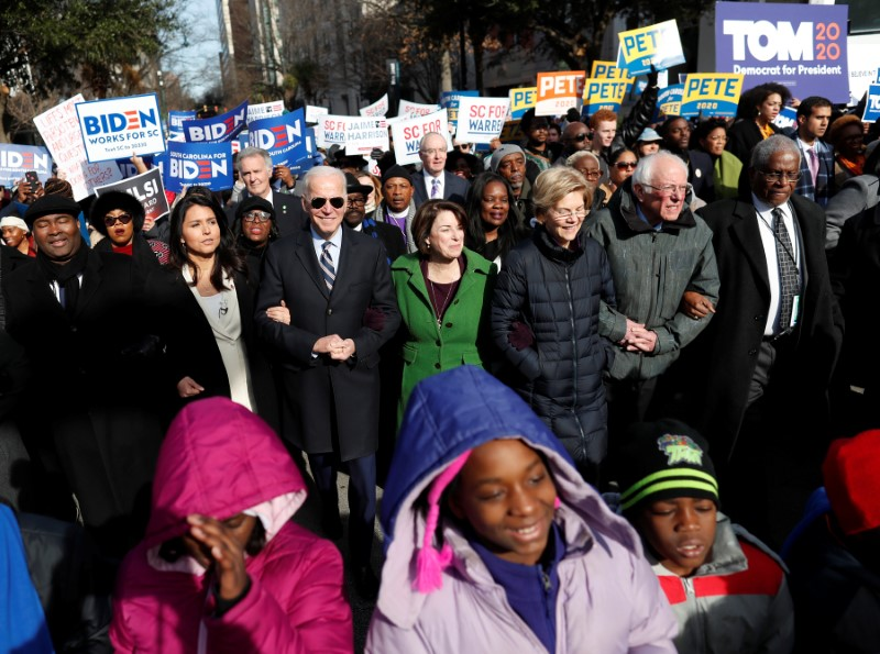 Democratic presidential candidates enjoy moment of harmony to mark King birthday