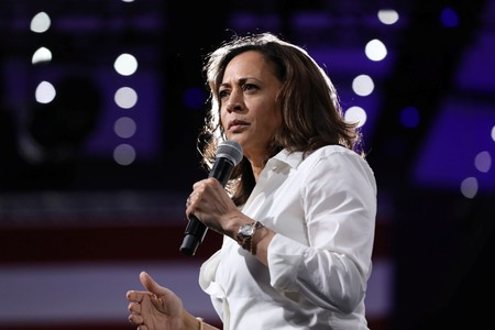 U.S. Democratic presidential hopeful Harris addresses police shootings in criminal justice plan