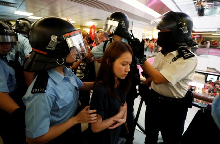 Hong Kong police break up scattered clashes between rival protesters