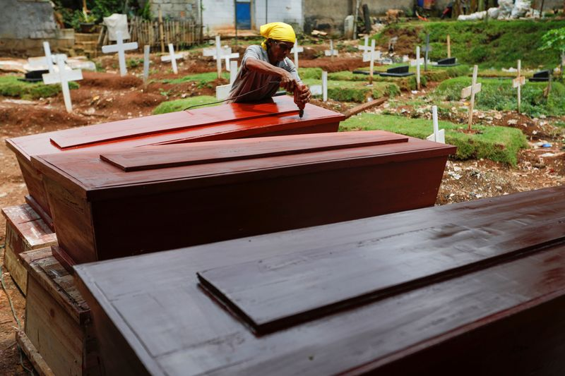Jakarta coffin maker faces gruelling days as coronavirus death toll climbs