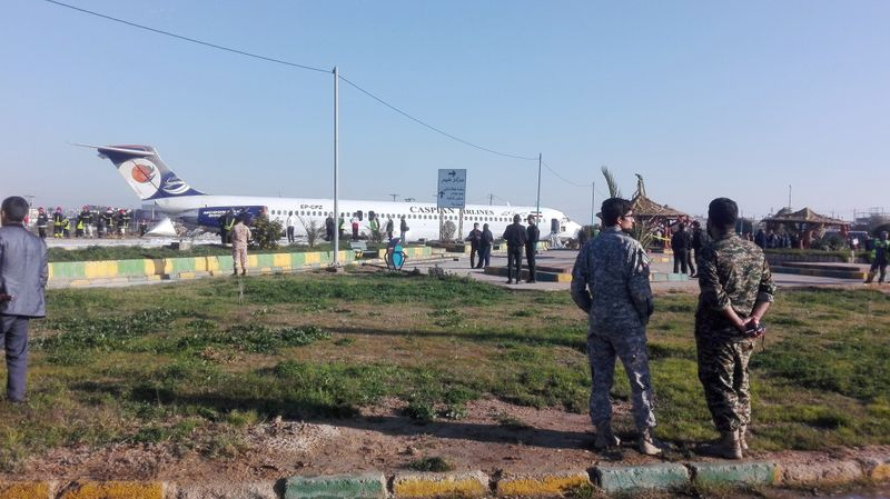 Iranian passenger plane slides off runway into highway, passengers safe