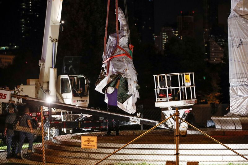 Chicago takes down statues of Columbus, plans review of all monuments