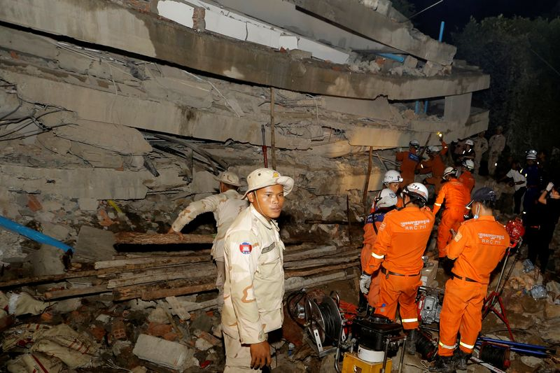 Death toll rises to 24 in Cambodia building collapse, some still trapped
