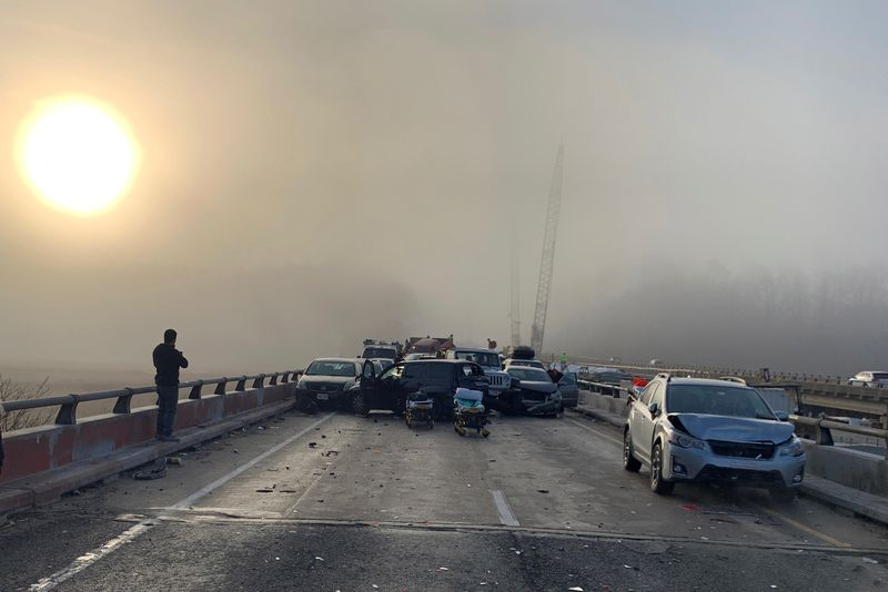 Thirty-five people injured in 63-vehicle pileup on Virginia highway