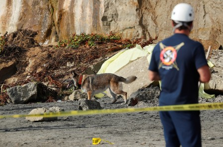 One killed, at least three hurt after bluff collapses onto California beach
