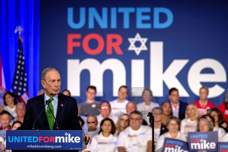 U.S. candidate Bloomberg vows to back Israel, takes dig at Sanders