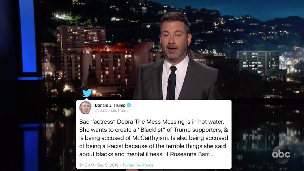 Jimmy Kimmel Goes Off on Trump's Debra Messing Obsession