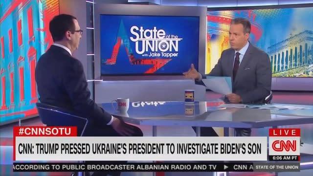 Tapper Corners Mnuchin: Wouldn't You Find it Inappropriate if Obama Asked Ukraine to Investigate Trump's Kids?