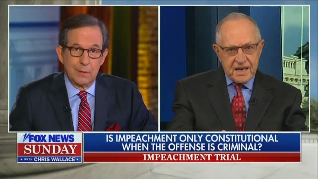 Chris Wallace Grills Dershowitz Over Shifting Stance on Whether Crime Is Necessary for Impeachment