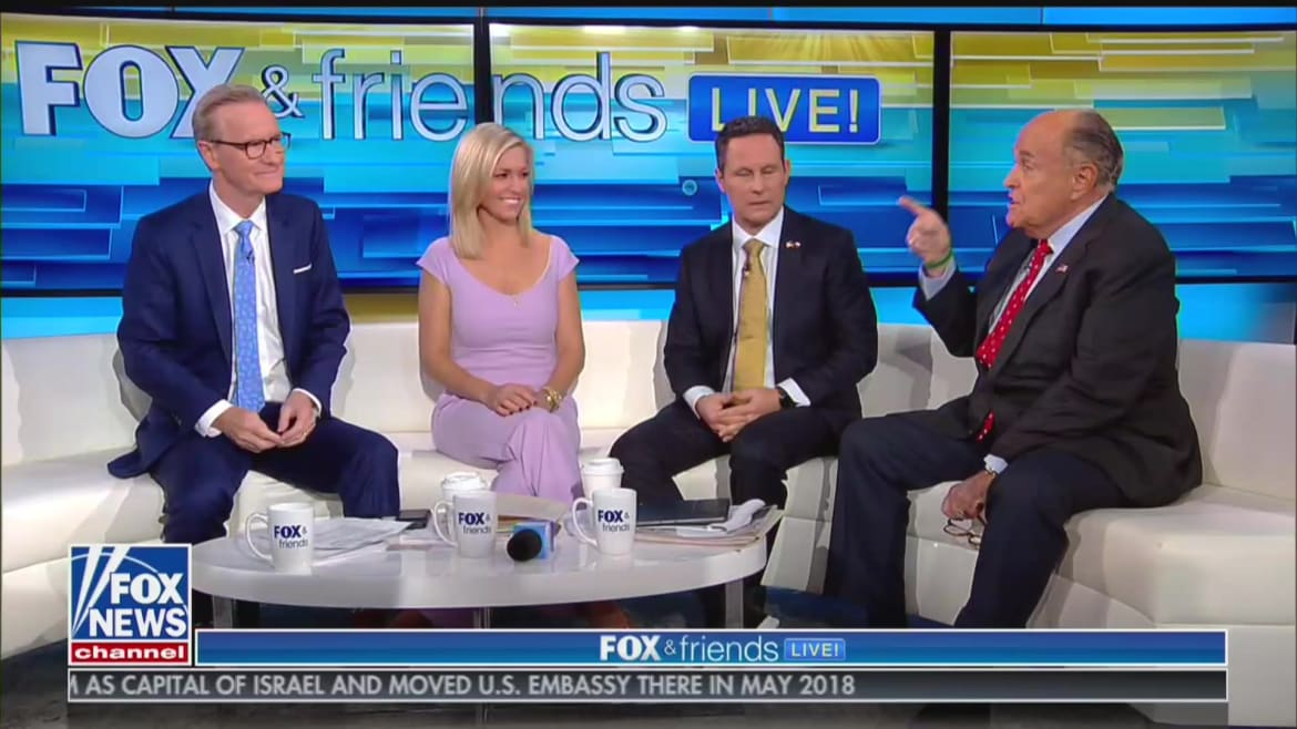 'Fox & Friends' Desperately Tries to End Unhinged Giuliani Interview, Repeatedly Fails