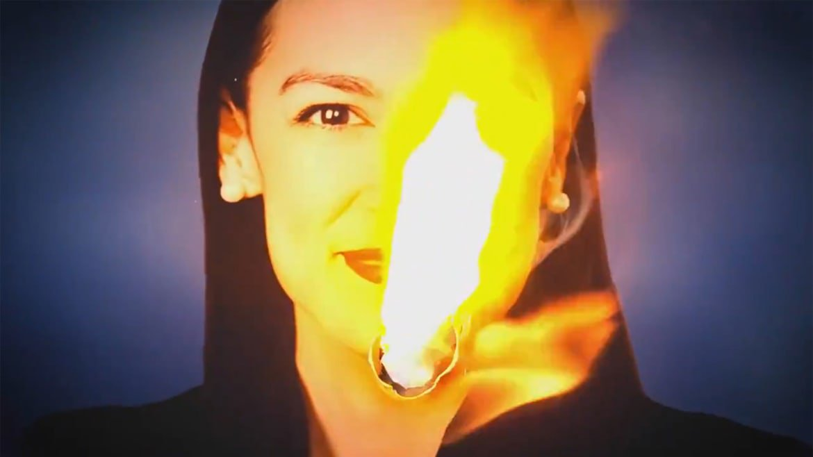 New Republican Super PAC Burns AOC's Likeness in Debate Night Ad